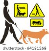 Illustration and warning signs depicting blind pedestrian and his dog, in wood cut style - stock vector