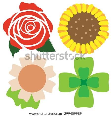 illustration art icon set flower front - stock vector