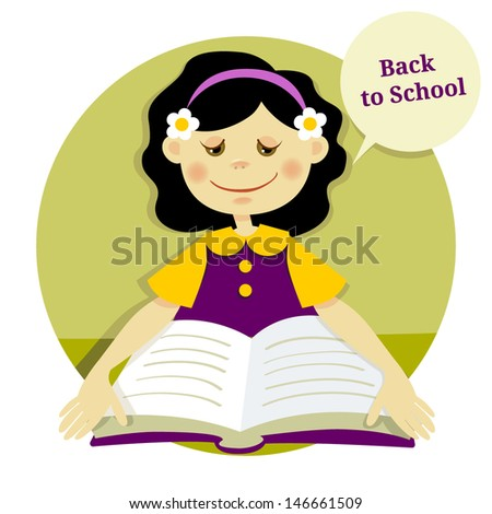 """illustration """"back to school"""". A girl learns to read - stock vector"""