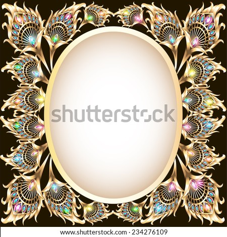 illustration background frame with gold ornament in the form of a peacock feather and jewels - stock vector