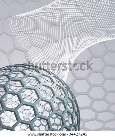 illustration background with buckyball or buckminsterfullerene and abstract mesh wave graphic - stock vector