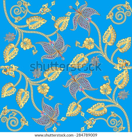 illustration background with gold ornaments and precious stones - stock vector