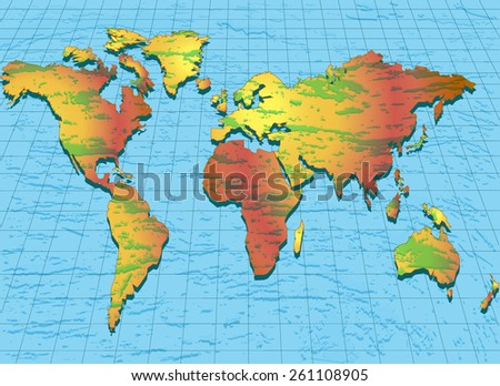 illustration background with world map with convex structure