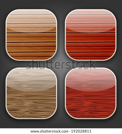 Illustration backgrounds with wooden texture for the app icons - vector