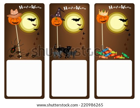 Illustration Banner of Jack-o-Lantern Pumpkin on Wooden Stick with Halloween Misters and Halloween Items For Halloween Celebration.  - stock vector