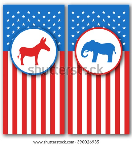 Illustration Banners with Donkey and Elephant as a Symbols Vote of USA. United States Political Parties - Vector - stock vector