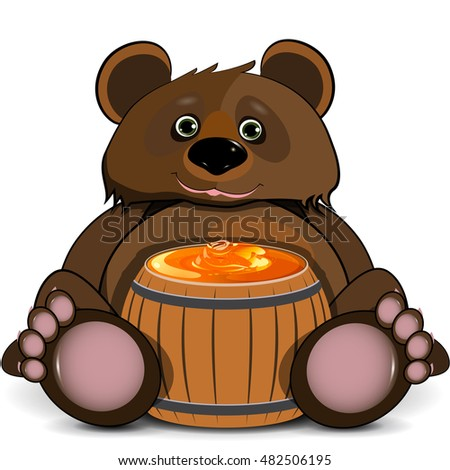 Illustration Bear with a Barrel of Honey