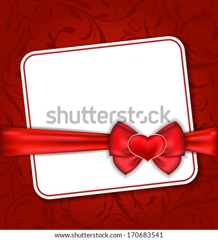 Illustration beautiful card for Valentine Day with red heart and bow - vector - stock vector