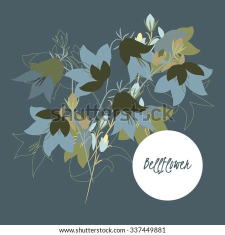 illustration bell flower/Spring bell flower/Greeting card bell flower/Summer composition bell flower/Spring bell flower/Garden bell flower/Beautiful bell flower/Delicate bell flower    - stock vector