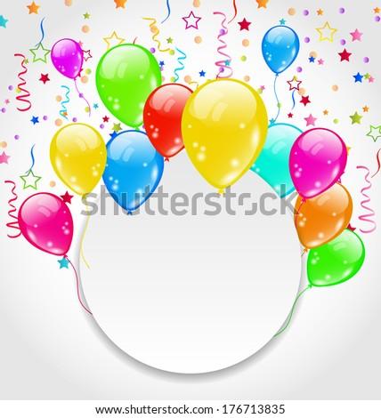 Illustration birthday invitation with multicolored balloons and confetti - vector - stock vector