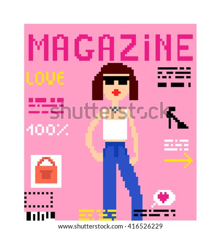 Illustration 8 bit pixel art magazine pink cover fashion girl text headline Love columns and photos accessories with headline OK! isolated on white background / vector eps 10 - stock vector