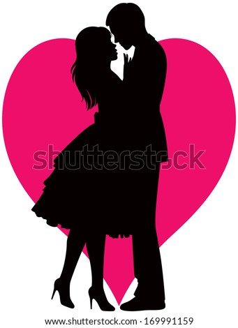 Illustration black silhouette of lovers embracing on a white background/Couple in love/Illustration of man and woman lovers - stock vector