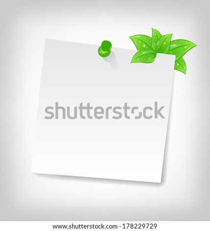 Illustration blank note paper with green leaves and spa?e for your text - vector - stock vector