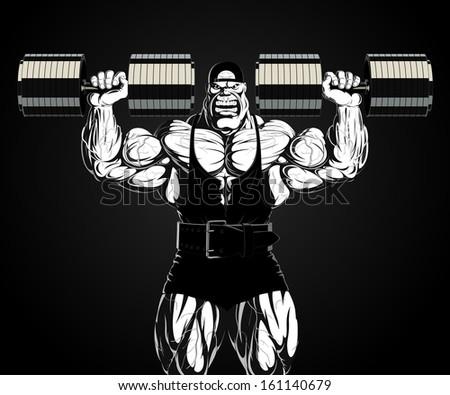 Illustration: bodybuilder with dumbbell - stock vector