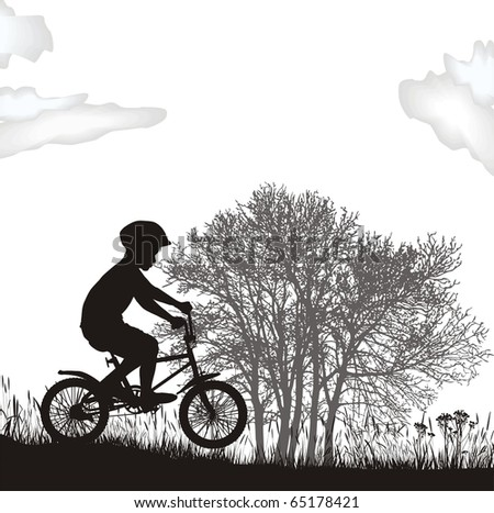 illustration boy on a bicycle in the nature