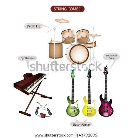 Illustration Brown Color Collection of Musical Instruments String Combo, Electric Guitar, Electric Bass Guitar, Synthesizer and Drum Kit in Retro Style   - stock vector
