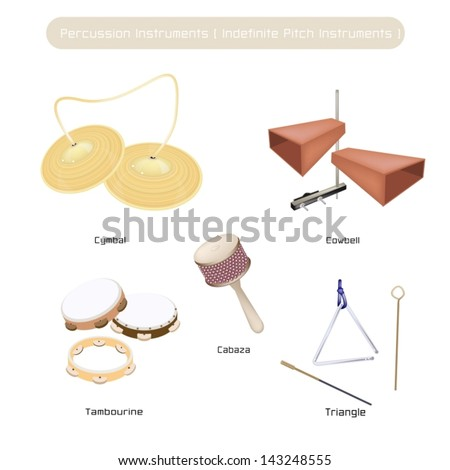 Illustration Brown Color Collection of Vintage Musical Indefinite Pitch Instruments, Cymbal, Cowbell, Tambourine, Musical Triangle and Cabasa Isolated on White Background  - stock vector