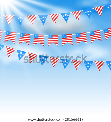 Illustration Bunting Garlands in Traditional American Colors for Independence Day. Vector - stock vector