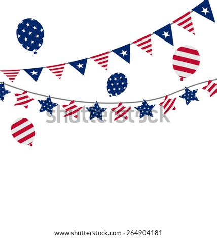 Illustration Bunting pennants for Independence Day USA, President Day, Washington Day, US Labor Day - Vector - stock vector