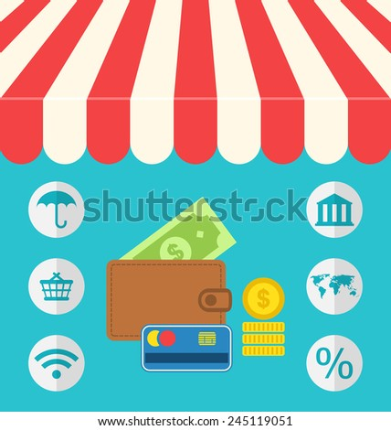 Illustration business concept flat icons set of on line shopping and payment internet purchase - vector - stock vector