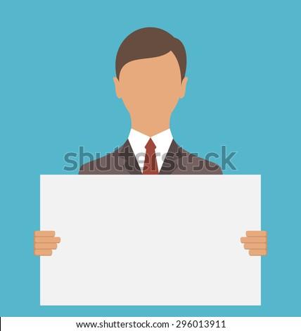 Illustration Business Man Holding Big Blank Paper - Vector - stock vector
