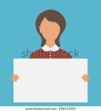 Illustration Business Woman Holding Big Blank Paper Banner - Vector - stock vector