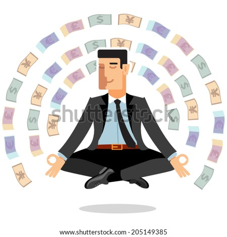 Illustration businessman meditates - stock vector