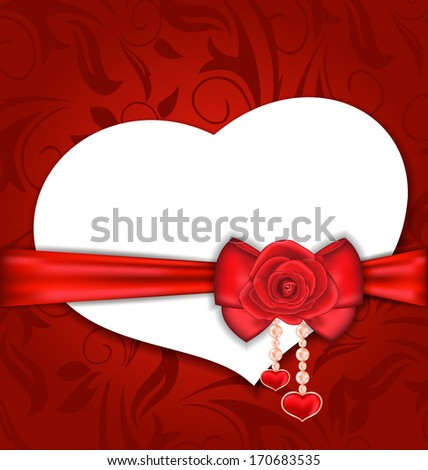 Illustration card heart shaped with silk bow and red rose for Valentine Day - vector - stock vector