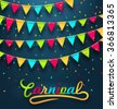 Illustration Carnival Party Dark Background with Colorful Bunting Flags - Vector - stock vector