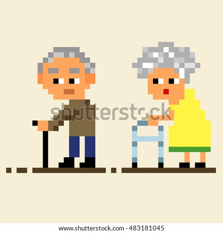 Illustration cartoon funny characters old woman and man with stick and walker, 8 bit pixel art people set isolated, vector eps 10
