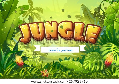 Illustration cartoon jungle with inscription and ribbon for your text - stock vector