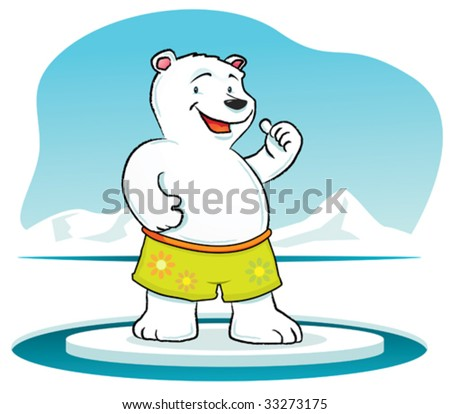 Illustration cartoon of Polar Bear with thumb up - stock vector