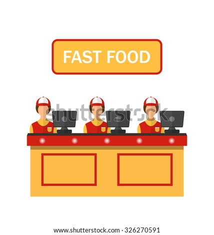 Illustration Cashiers with Cash Register in Diner with Fast Food - Vector - stock vector