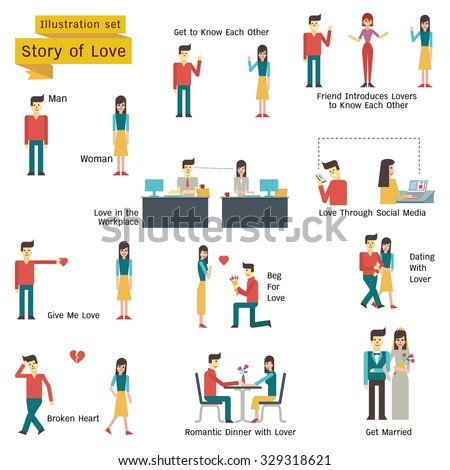 Illustration character of couple, man and woman in love and romance concept. Simple character with flat design.  - stock vector