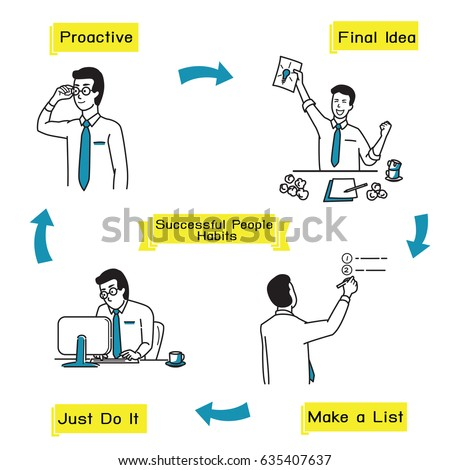 Illustration Character Successful Businessman Habits