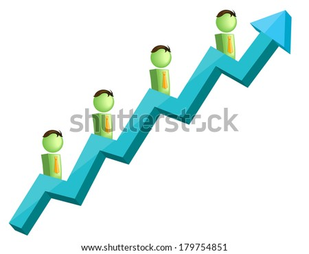 Illustration - Charting up  - stock vector