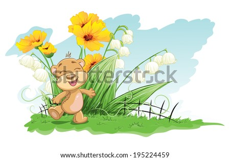 Illustration cheerful bear with lilies and flowers - stock vector