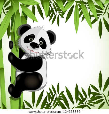 illustration cheerful big panda on green bamboo - stock vector