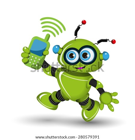 Illustration cheerful green robot and a phone - stock vector