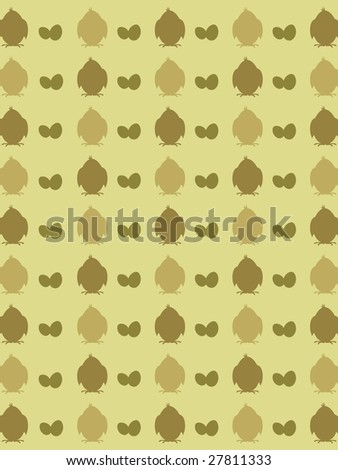 illustration chicken silhouette background with easter egg - stock vector