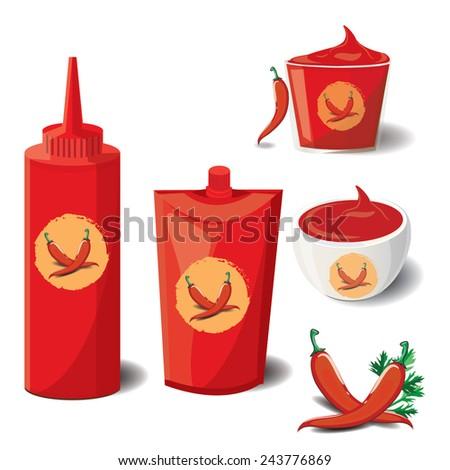 illustration chili Sauce on white - stock vector