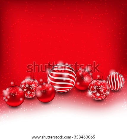 Illustration Christmas and Happy New Year Abstract Background with Red Balls, Bright Wallpaper - Vector - stock vector