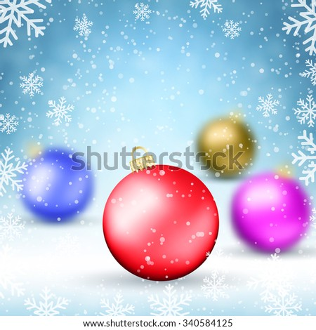 Illustration Christmas background with Colorful glass balls and snowflakes.  Holiday Design for New Year Greeting Cards, Posters and Flyers. vector illustration - stock vector