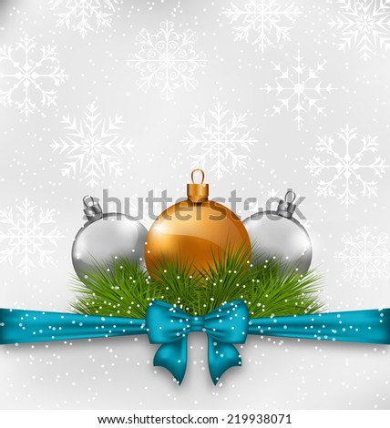 Illustration Christmas background with fir twigs and glass balls - vector - stock vector