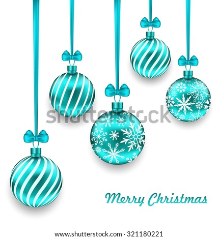 Illustration Christmas Background with Turquoise Glassy Balls - Vector - stock vector