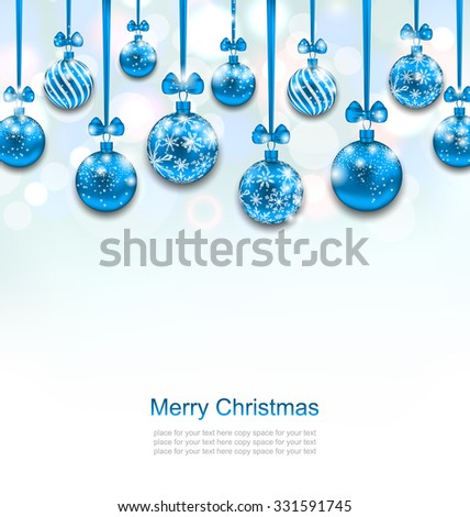 Illustration Christmas Blue Glassy Balls with Bow Ribbon, Shimmering Light Background - Vector - stock vector