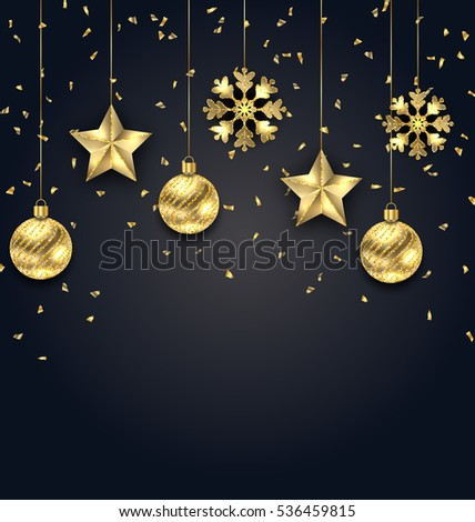 Illustration Christmas Dark Background with Golden Balls, Stars and Snowflakes - Vector