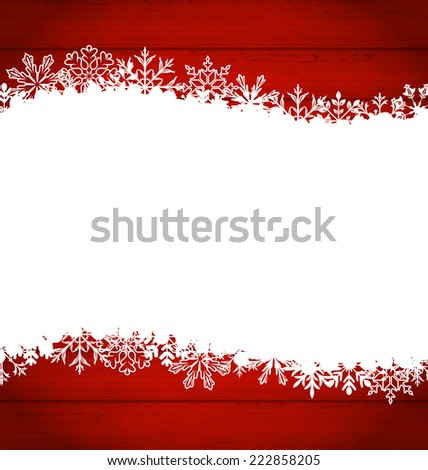 Illustration Christmas frame made of snowflakes with copy space for your text - vector - stock vector