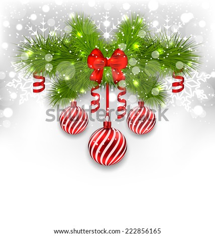 Illustration Christmas glowing background with fir branches, glass balls, ribbon bow, streamer - vector  - stock vector
