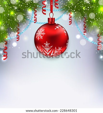 Illustration Christmas glowing background with glass ball, fir branches, streamer - vector - stock vector